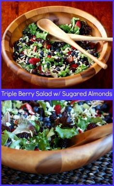Triple Berry Salad with Sugared Almonds - this is one of my favorite salad recipes ever, especially for summer entertaining!