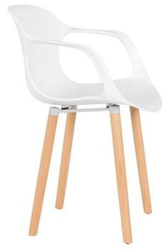 Sessel Fred Kunststoffschale Weiß Holzfüße Braun Esszimmer im kika Online-Shop