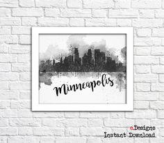 Printable Minneapolis Watercolor Poster Minneapolis by eDesignss