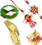 Bhabhi gifts set with golden plated watch and kaju sweets with free rakhi available at : www.flowerschennai.com/Rakhi_Gifts_to_Chennai.php