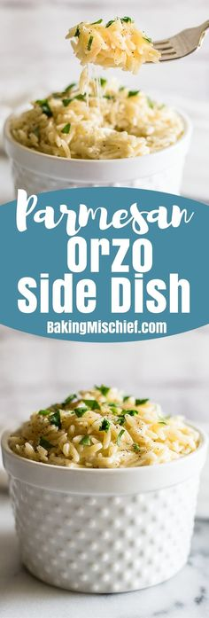 This easy Parmesan Orzo Side Dish is my favorite pasta side. It's quick and easy to make, so creamy, and absolutely delicious. | Sides for Two | Easy Sides | Pasta Side Dish |
