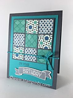handmade birthday card ... nine square patch ... like the how these different patterned parpers work together ... gray and aquas ... Stampin' Up!
