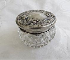 Sterling Vanity Jar Antique Art Nouveau by VintageVogueTreasure