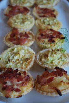 Tartaletas variadas con calabacín, puerro o bacon