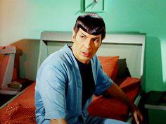 Spock in sickbay, Star Trek.