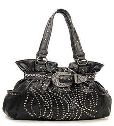 Western Black Rhinestone Buckle Accented Purse - Handbags, Bling & More!