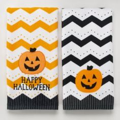 Halloween Pumpkin Chevron 2-pk. Kitchen Towels