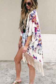 Work of Art Floral Kimono in Pink + Royal Blue