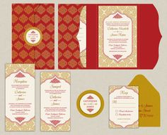 Contemporary Jewels Collection In Plum - Indian Wedding Invitations - An Elegant Pocket with Gold Glitter Motifs in Plum, Gold & Ivory Gold Envelopes, Indian Wedding Invitations, Watercolor Invitations, Reception Card, Personalized Invitations, Invitation Set, Response Cards, Gold Wedding