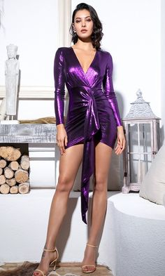 Disco Dreams Metallic Long Sleeve Plunge V Neck Twist Sash Mini Dress - 4 Colors Available Metallic Mini Dresses, Purple Mini Dresses, Satin Dresses, Sexy Dresses, Short Dresses, Dress Long, Laura Dresses, Sexy Skirt, Hot Dress