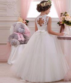 Vestido Princesa Social Longo em Renda e Tule Bordado, com Pedras – Lindo e Chique (4-14 anos)