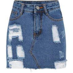 Yoins Yoins Destroyed A-line Denim Skirt (69 BRL) ❤ liked on Polyvore featuring skirts, bottoms, yoins, blue, knee length denim skirt, a-line button front skirt, distressed denim skirt, pencil skirt and blue skirt