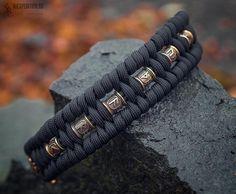 Paracord Tutorial, 550 Paracord, Thors Hammer, Paracord Bracelets, Bracelets For Men, Elder Futhark Runes, Paracord Projects, Bronze, Braided Leather
