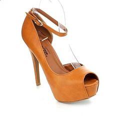 DBDK COLBY-1 Women's Fashion #Ankle Strap Platform Stiletto #High #Heel Pumps, Color:COGNAC, Size:9. Read more description on the website. Platform Stilettos, High Heels Stilettos, Women's Heels, Designer High Heels, Womens High Heels, Ankle Strap, Peep Toe, Women's Fashion, Shoes