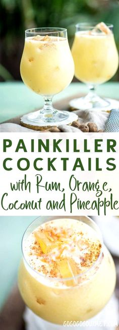 If you're looking for a great warm weather cocktail, make these Painkiller Drinks! Coconut, pineapple, rum, and orange- what's not to love? via and Drink poster cocktail recipes The Painkiller Drink Go Go Go Gourmet Liquor Drinks, Cocktail Drinks, Party Drinks, Vodka Cocktails, Martinis, Cocktail Recipes With Rum, Cocktail Shaker Recipes, Champagne Drinks, Alcoholic Drink Recipes