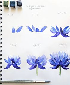 Best Flowers Lotus Painting Ideas Reasons to live for Beste Blumen Lotus Malerei Ideen Watercolor Flowers Tutorial, Step By Step Watercolor, Watercolour Tutorials, Flower Tutorial, Watercolor Paintings, Watercolour Flowers, Watercolor Water, Step By Step Painting, Flower Drawing Tutorial Step By Step