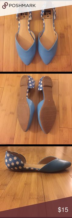 Blue Flats Adorable blue polka dot 2 piece flats. Size 7. Worn once. Slight scuff on front left shoe--not noticeable unless like one inch away. Make offer! Francesca's Collections Shoes Flats & Loafers