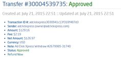 I am getting paid daily at ACX and here is proof of my latest withdrawal. This is not a scam and I love making money online with Ad Click Xpress.  From STPay member: adclickxpress (owner@adclickxpress.com) Transaction Number: 30004539735 Amount: $121.16 Currency: USD Note (if provided): Ad Click Xpress Withdraw #2679985-31740 Transaction Fees: $2.19  Join now: http://www.adclickxpress.com/?r=goki_mkd