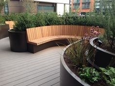 Outdoor Design: Bespoke curved planters and seating, 3 Merchant Square 1 of 12 - garden landscaping Outdoor Seating Areas, Garden Seating, Terrace Garden, Outdoor Landscaping, Outdoor Gardens, Outdoor Decor, Roof Gardens, Outdoor Planters, London Garden