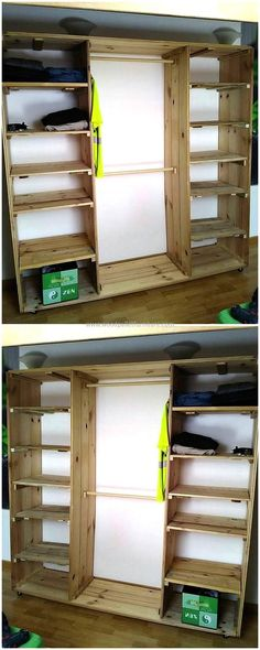 Wardrobe is something that is required in every room to set the clothes and place the items of daily use, so here is an idea to create a huge wardrobe cabinet with many separated hollow spaces to organize the items a person has to place the bedroom. (Diy Closet Pallet)