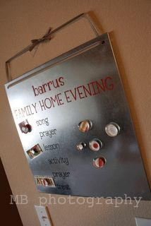 Family Home Evening Chart. Easy Peasy with baking sheet, vinyl and magnets with photos.