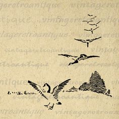 Printable Image Flying Geese Graphic Bird by VintageRetroAntique
