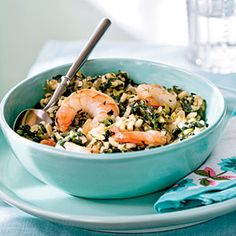 Risotto with Shrimp, Goat Cheese, Cilantro, and Spinach.