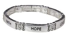 4031342 Faith Hope Love Stretch Bracelet 1st Corinthians Christian Scripture Jewelry. Beautiful Polished Silver Tone. Accented with Clear Stones. Heavy Quality Construction. Stretch Band For Comfort. Pretty Gift Box Included.