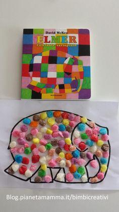 Lettura e Gioco: Elmer - Bimbi Creativi Preschool Color Theme, Preschool Themes, Kindergarten Activities, Preschool Activities, Diy Arts And Crafts, Book Crafts, Diy Coloring Books, Elmer The Elephants, Elephant Crafts