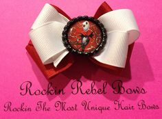 Jack The Skelton hair bow by RockinRebelBowz on Etsy, $4.00