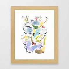 Blue Bonzai, Blue Birds Framed Art Print
