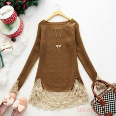 New Slim Vintage Lace Hem Sweater Stitching Off Two Knitting Wool Girl's Clothes | eBay