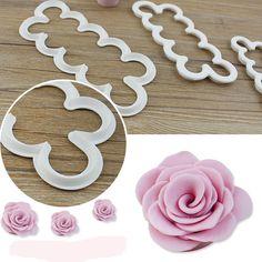 3pcs/set Cookie Cutter Gumpaste Fondant Cake Decorating Tools Sugarcraft Cutter Rose Flower Maker Mold Cake Tool