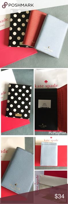 Kate Spade passport holder Choose from:                                                               Blue: mikas pond arcticsky  Red: mikas pond pillbox red Polka Dot: carlie street black/cream kate spade Accessories