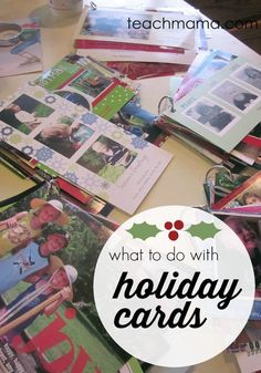 Get a lot of holiday cards? For real I love this, because what DO you do with holiday cards after the holiday?? Check this out for some great ideas for kids and ways to use those holiday cards! It's a Christmas idea for kids they will certainly enjoy doing! #christmas #holiday #merrychristmas #kidsactivities #crafts #craftideas