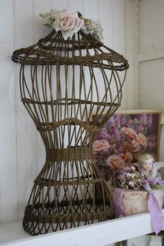 Antique wicker dressform