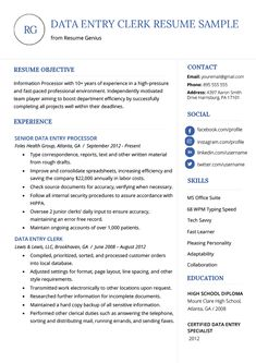 Data Entry Resume Examples New Data Entry Resume Sample & Writing Guide Resume Skills, Resume Tips, Free Resume, Basic Resume, Student Resume Template, Resume Templates, Templates Free, Cv Template, Sample Resume