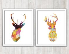 Deer head Stag Antlers Silhouette with colorful by DIYwallART
