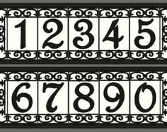 House Number Address Tiles - Framed Set Spanish Iron design. Various colors available (see picture #2 for color options). Each number tile is 3 wide x 6 tall x .25 thick and has been created using an old-world cuerda-seca technique. Each set includes two (2) 1.5x6 end tiles -PLUS quantity of tiles you specify (how many numbers you have in your address) - PLUS a satin black frame. The rust-proof, weather resistant anodized aluminum frame comes assembled -complete with hanging hardware and…