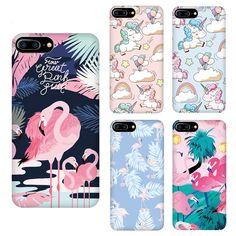 Couple cartoon unicorn flamingo coque Phone Cover Case For iPhone 7 7plus 6 6S 6plus Exquisite water paste design feel silky