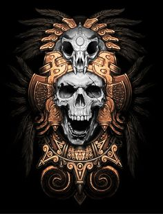 "Native Indian Chief Skull - ""Calaveras Aztecas"" (""Aztec Skulls"")."