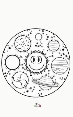 Colouring Pages, Coloring Pages For Kids, Coloring Books, Cosmos, Preschool Painting, Earth Craft, Solar System Projects, Outer Space Theme, Teaching Geography