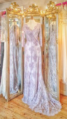 Wisteria / lavender French lace and silk chiffon wedding dress by Joanne Fleming Design