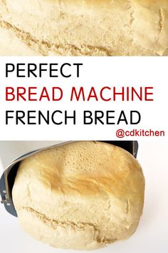 Perfect Bread Machine French Bread - This recipe yields a crusty exterior but a soft, chewy interior, just like a good loaf of French bread should (but with the convenience using a bread machine). French Bread Bread Machine, Easy Bread Machine Recipes, Best Bread Machine, Bread Maker Machine, Bread Maker Recipes, Banana Bread Recipes, Bread Maker French Bread Recipe, Crusty Chewy Bread Recipe, French Bread Recipes
