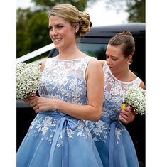 Cheap blue bridesmaid dress, Buy Quality bridesmaid dresses directly from China wedding party dress Suppliers: Blue Bridesmaid Dresses 2017 With Appliques Sashes Sheer Neck Tea Length Wedding Party Dresses Gowns robe demoiselle d'honneur Organza Bridesmaid Dress, Short Lace Bridesmaid Dresses, Lace Bridesmaids, Homecoming Dresses Knee Length, Tea Length Dresses, Wedding Party Dresses, Party Gowns, Dress Prom, Wedding Lace