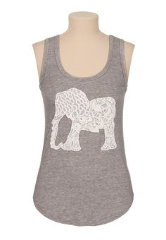 Elephant lace applique tank maurices