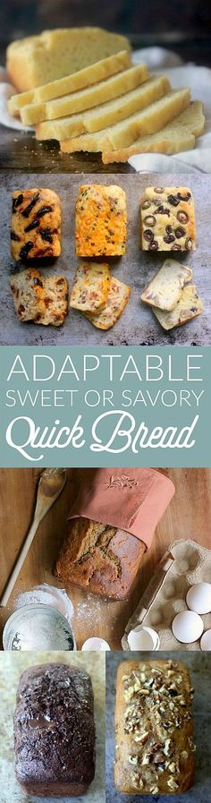 This basic quick bread recipe is adaptable to be savory or sweet. The recipe is delicious as is, or use it as a base recipe and add any spices, herbs, dried fruit, nuts, or any add-ins you like! There are endless combinations!