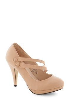 A New Spin Heel in Blush - High, Faux Leather, Tan, Solid, Buttons, Prom, Wedding, Party, Cocktail, Girls Night Out, Holiday Party, Bridesma...