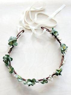 Wedding hair accessories Green Floral Crown
