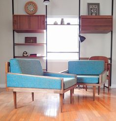 Mid Century Modern Lounge Chairs by MIDMODPICKERS on Etsy, $895.00 Custom made mid century modern style lounge chairs.    -Dimensions: Check Back  -Condition: Excellent Condition. (New tweed fabric)